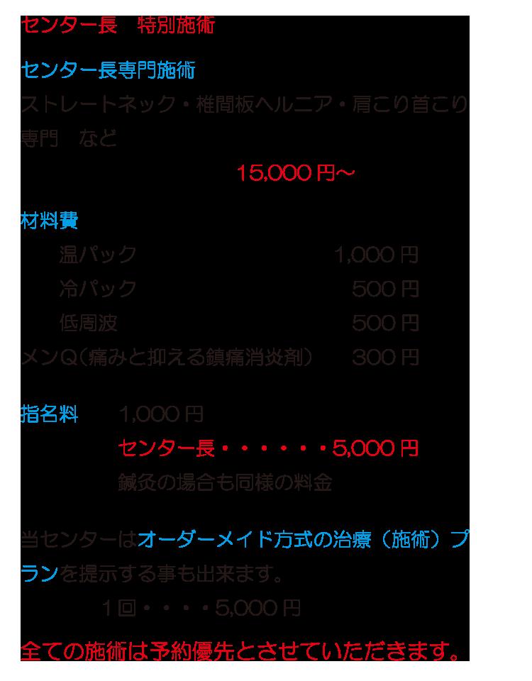 BMMスポーツマッサージ料金表2